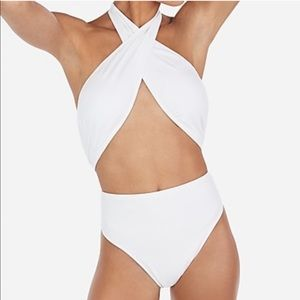 Express White wrap halter One Piece Swimsuit
